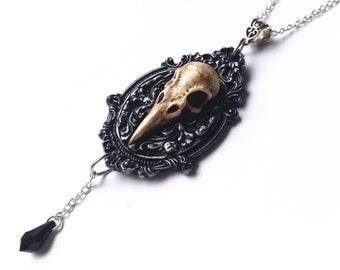 Filigree Skull Necklace - Skull Pendant - Birdskull Necklace - Resin Birdskull - Gothic Jewelry - Gothic Skull Necklace - Gothic Decor