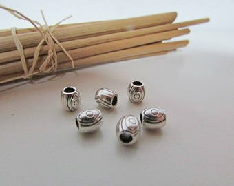 6 x 5 mm antiqued silver plated - 2 mm hole - 545.7 tube 15 bead