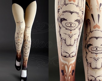 NEW nude one size Bunnies full length footless printed tights pantyhose