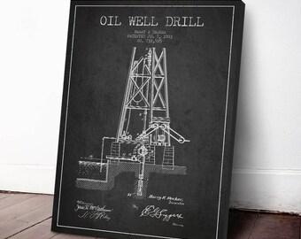 1903 Oil Well Drill Patent, Oil Well Drill Print, Oil Well Drill Canvas Print, Oil Well Drill Poster, Home Decor, Gift Idea, PFEN13C
