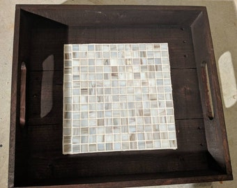 Pallet Wood Glass Tile Serving Tray