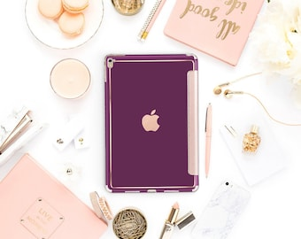 iPad Case . iPad Pro 10.5 . Purple Davenport with Rose Gold Smart Cover Hard Case for  iPad mini 4  iPad Pro  New iPad 9.7 2017