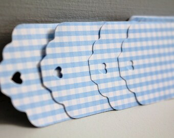 30 Blue Gingham Paper Tags Gift DIY Baby Shower