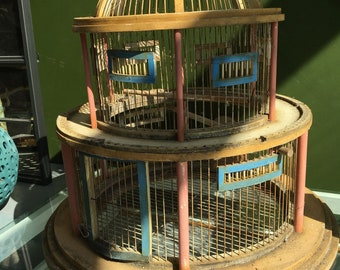 Beautiful old wooden large bird cage