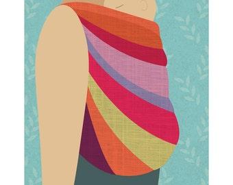 Babywearing Art Print Back Carry Baby Sling Giclee Art Print Gift