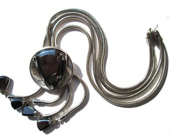 Vintage Fabulous Snake Chain Statement Necklace Faceted Hematite Double Strand Heavy Bolo Inspired Modernist Triangle Triangular Lariat Y