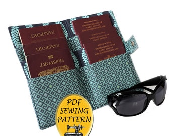Family Passport wallet PDF pattern US or UK. 6 Passport cover pattern. Multi Passport holder pattern