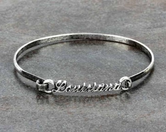 Louisiana Script Wire Bracelet Silver Tone