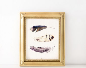 Watercolor feather print - Boho rustic home decor - Feather art - Watercolor wall art - Boho art prints - Printable wall art - Digital art