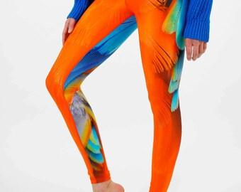 PARROT Yoga Leggings, Eco Friendly Yoga Pants, Printed Leggings, Yoga Wear, SUP Leggings, Unique Womens Leggins, Printed Tights