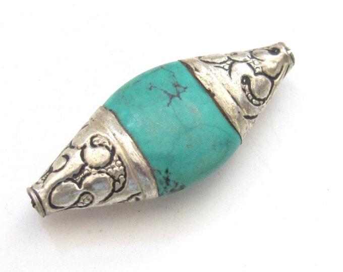 1 BEAD - Beautiful large bicone shape capped Tibetan turquoise gemstone beads from Nepal- BD521