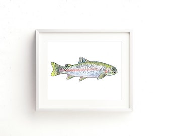 Rainbow Trout Watercolor Fine Art Print