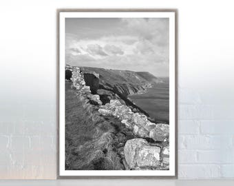 PRINT, Lundy Island II, British Coast, Beach, Landscape, Black and White, Photography, Cliffs, Sea