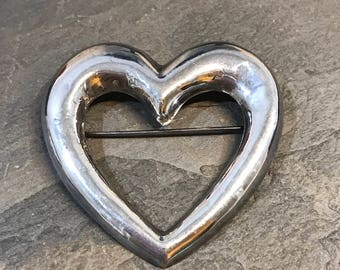 Vintage Sterling silver handmade brooch, Mexico 925 silver heart pin, stamped 925