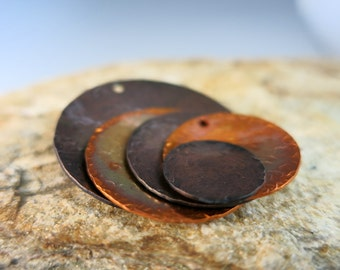 Concave Hammered Disc, Copper Pendants or Earring Components, Choice of Size and Finish, Made to Order in 1 to 2 Weeks