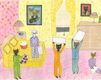 Pajama party. Original  watercolor painting by Vivienne Strauss.