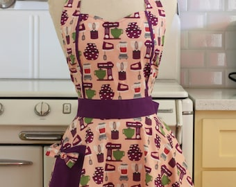 Retro Apron Baking Theme Pink and Purple MAGGIE