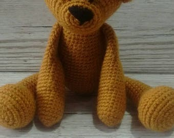Crochet Bear, Honey/Gold bear, New Baby Gift, Gender Neutral Baby Gift , Birthday , Christmas, teddy bear