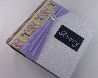 Photo Album Scrapbook personalized Baby Memory Book shower gift pregnancy journal School Tea cup Party Lavender Purple