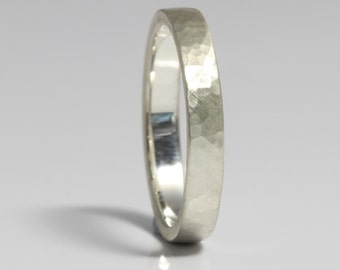 Delicate Wedding Bands / Planished Band / Hammered Rings / Hammered Bands / Ladies Silver Hammered Wedding Ring 3mm Wide / Made in Cornwall