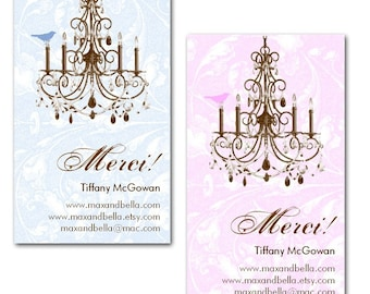 Chandelier with Bird Business Cards - Set of 50