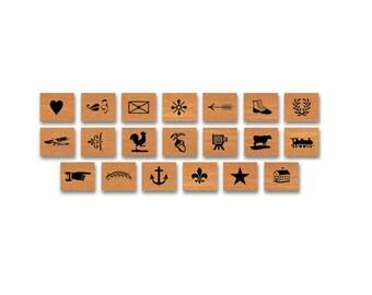Vintage letterpress Rubber Stamp Set cavallini stamps cavallini rubber stamps