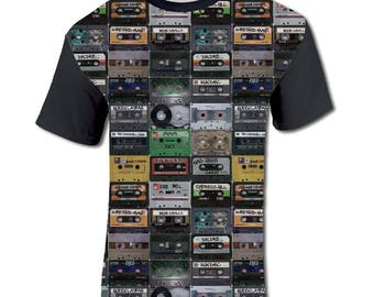 All Over Print Tapes Graphic T Shirt Hip Hop Cassette Sublimation Hipster Trendy Cool Festival Fashion