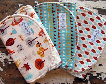 SALE RETIRED Burp Cloths - Festive Forest, Forest Bunting & Forest Leaves - Set of 3 - Baby Boy or Girl