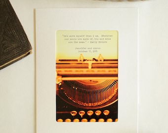 Vintage Typewriter Card, Personalized Valentine, Gift for Writer, Custom Quote, Literary Quote Print, I love You Card, Unique Wedding Card