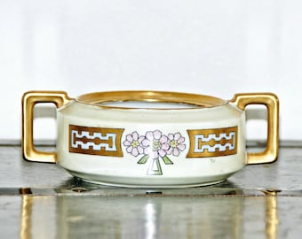 H and Co Selb Bavaria Sugar Bowl, Made in Germany, Art Deco, Pink Floral, Gold Handles, Gilded Trim, No Lid, Hand Painted, Heinrich and Co