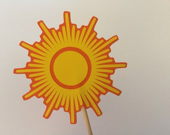 Sun cupcake toppers, 12 cupcake toppers, Graphic sun cupcake toppers, southwest sun toppers