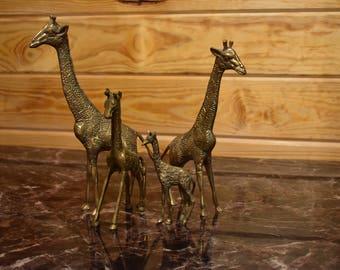 Vintage Brass Giraffe Family