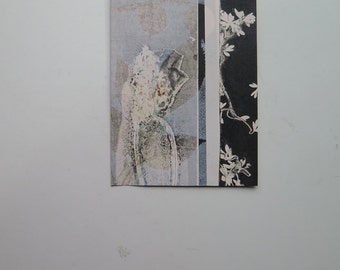 Small original botanical print by Stef Mitchell Coastal poppy and wild flower print Dusky sky blue Influenced by Japanese art & Art Deco