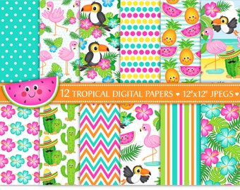 Flamingo Digital Papers,Cactus Digital Papers,Toucan Papers,Tropical Digital Papers,Tropical Backgrounds,Scrapbook Papers,Commercial (P22)