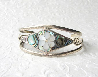 """Alpaca Mexico Cuff Diamond Shape Bracelet Inlay Mother Of Pearl MOP Flower Abalone Shell 6.5"""" to 7"""" Silver Tone Boho Chic Festival Jewelry"""