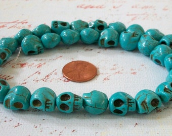 Skull Tiny Turquoise Blue Howlite Stone Beads with SCARY Teeth Strand