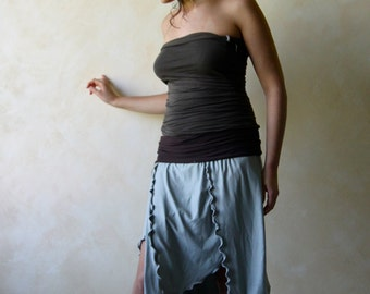 Pixie skirt, Asymmetrical skirt, Fairy skirt, jersey skirt, sexy skirt, slits skirt, women clothing, boho skirt, boho clothes, petite