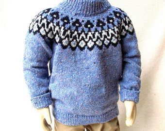 Tweed Sweater with an Icelandic  Motif  - 2T  - Toddler Boy or Girl - Ready to Ship