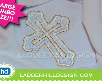 Cross Machine Embroidery Design -- Jumbo Size -- Fancy Motif and Satin Cross Easter Embroidery Design REL008A