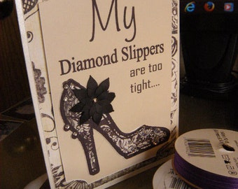 5x7 My Diamond slipper. Black printed lace