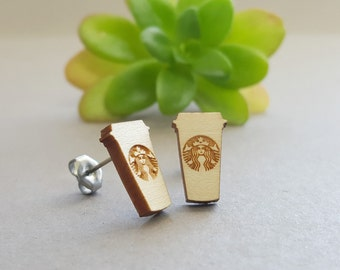 Starbucks Cup Earrings - Laser Engraved on Maple Wood - Hypoallergenic Titanium Post - Siren Mermaid