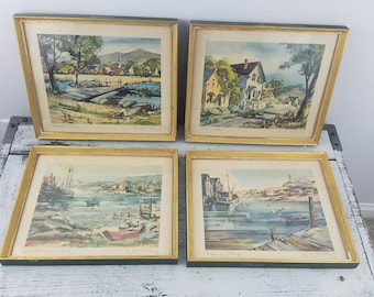 4 Signed Edgar Whitney Watercolor Prints, green, nautical, collectible, educational, artwork, art, decorative, household