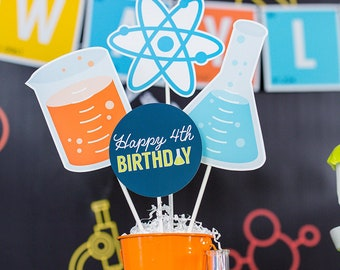 Science Party Centerpieces - Science Lab Table Decorations - Printable Science Party Centerpieces - Mad Scientist Centerpieces -