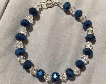 Blue Iris Rondel Crystal Bracelet