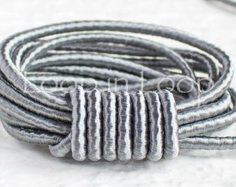 Grey Silver SILK cord, gray Wrapped Silk Satin Cord rope 3.5 mm thick, organic natural hand spun silk, polyester core, for Jewelry