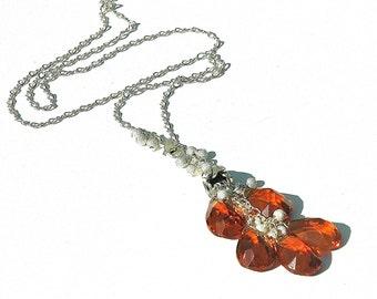 Fire Quartz Tassel Necklace / Sterling Silver / Modern Jewelry / Teardrop Pendant / Fire Opal / Little Black Dress / Gifts For Her / OOAK