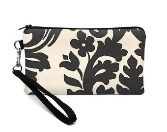 iPhone 8 Plus Wallet, Women's Wrist Wallet, Padded Phone Clutch, Zipper Phone Wristlet, Floral Phone Clutch - black white floral damask