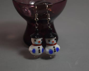 Glass Snowman Dangle Earrings