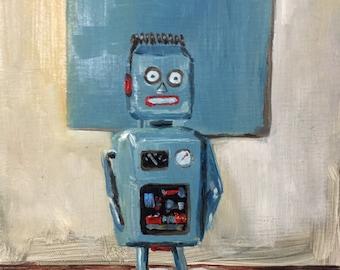 Small Original Painting Classic Robot