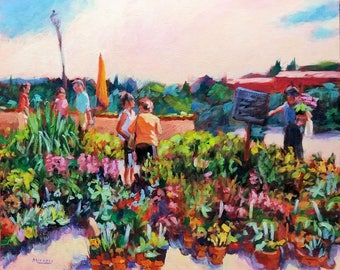 Flower Market, Provence, France, Uzes, original, painting, bright colors, sunny, 16 x 20, flowers, figures, Kit Miracle, wall art, travel